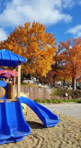 Our playground is surrounded by color in the fall